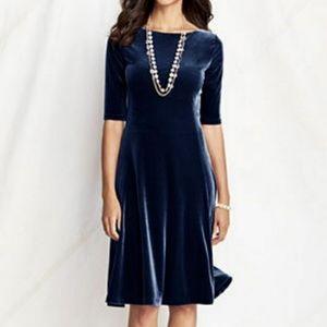 Lands' End Navy Blue Stretch Velvet Dress